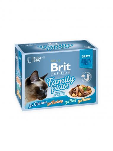 Brit Premium Cat Delicate Fillets Gravy Family Plate 12x85 g