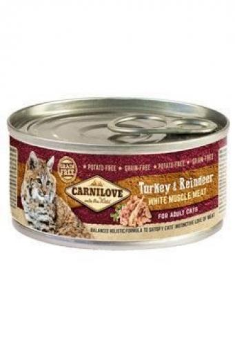 Carnilove konzerva White Muscle Meat Turkey+Reindeer Cats 100 g