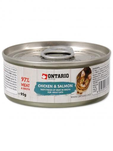 Ontario konzerva Chicken Pieces+Salmon 95 g
