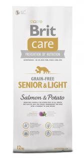 Brit Care Grain-free Senior & Light Salmon & Potato 12 kg + 3 kg ZDARMA